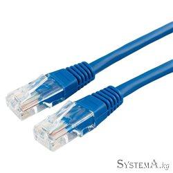 Патч-корд медный UTP Cablexpert PP10-5M/B кат.5e, 5м, литой, многожильный (синий)