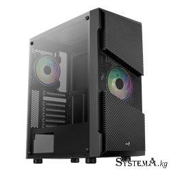 Компьютерный корпус Aerocool Menace Saturn RGB-G-BK-v1, ATX/Micro ATX, USB 2*3.0, HD-Audio+Mic, Кулер 2*12см RGB, Высота процесс