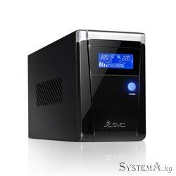 UPS SVC V-1200-F-LCD, Smart, USB, Диапазон работы AVR: 165-275В, Бат.: 12В/7.5 Ач*2шт., 3 вых.: Shuko CEE7., Защита тел. линии,
