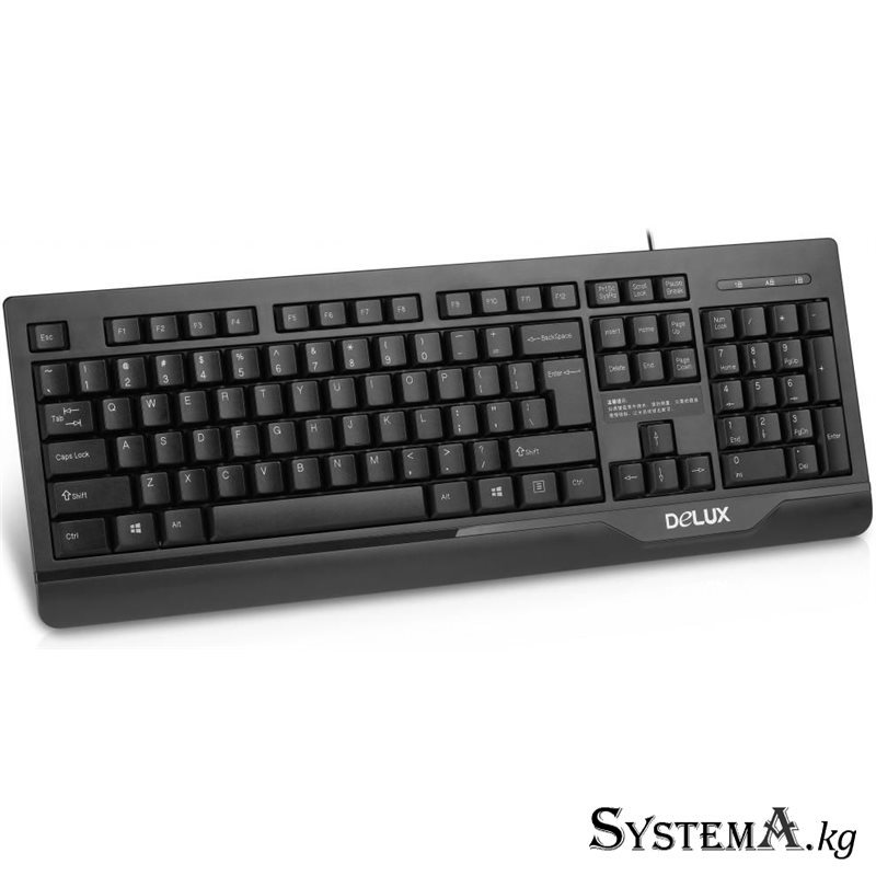 Клавиатура Delux K6010 wired keyboard black USB RUS+KG