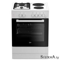 FSE 64010 DW (белый, 2х2, эл.духовка, конвекция, газконтроль, 2 противня)