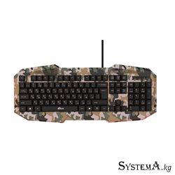 Keyboard RITMIX RKB-550 Khaki 104 key, мембранная, USB, 1.5m (тканевая оплетка кабеля,отключаемая многоцветная подсветка ,регули