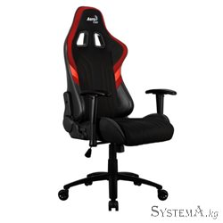 Gaming Chair AEROCOOL ALPHA 1 BLACK&RED 2D Armrest 65mm wheels PVC Leather
