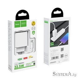 Зарядное устройство HOCO C69A Dynamic power, EU штекер, 1xUSB, white