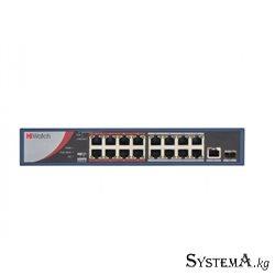 HUB Switch HIWATCH DS-S1816P(B) 17-port 10/100Mbps 16-port PoE 1 SFP 135W Metal