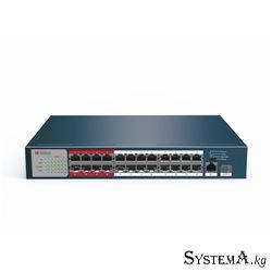 HUB Switch HIWATCH DS-S2624P(B) 25-port 10/100Mbps 24-port PoE 1-SFP 230W Metal