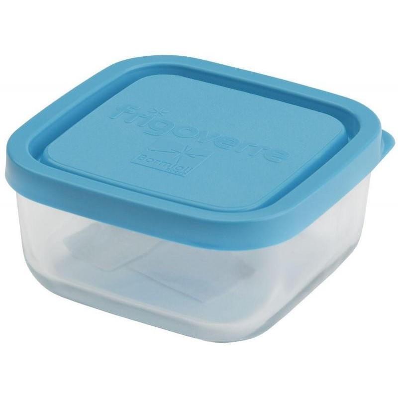 Стеклянный контейнер B335190 Bormioli Rocco  Frigoverre квадратный 10*10 см, 240 мл, с синей крышкой Сделано в Италии