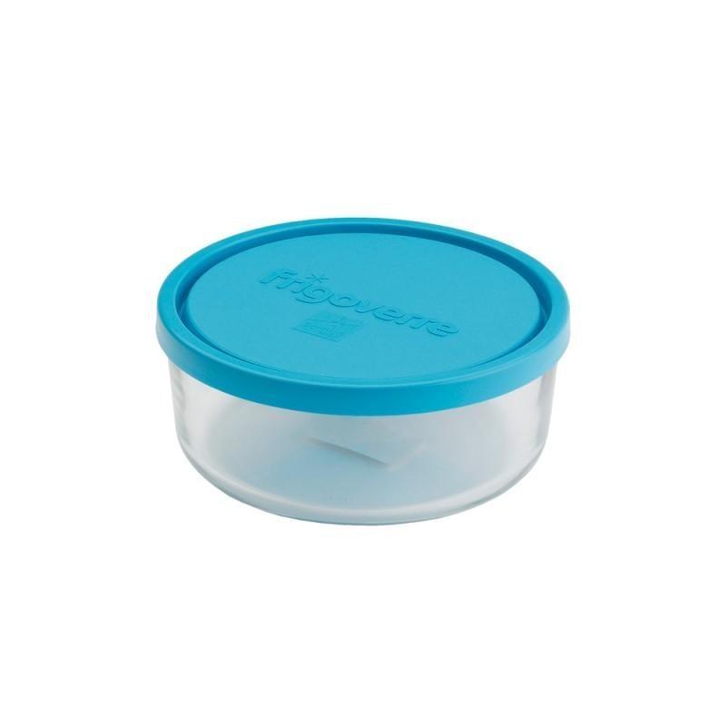 Стеклянный контейнер B388460 Bormioli Rocco Frigoverre круглый d-12 см, 300 мл, с синей крышкой Сделано в Италии