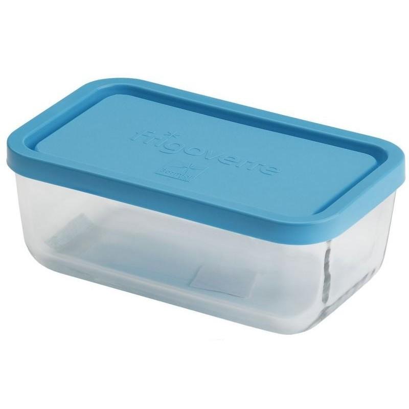 Стеклянный контейнер B335170 Bormioli Rocco Frigoverre прямоугольный 13*10 см, 400 мл, с синей крышкой Сделано в Италии