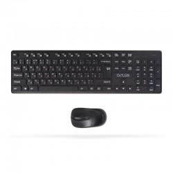 Комплект Клавиатура + Мышь, Delux, DLD-1505OGB, Беспроводная 2.4G, 1000DPI, Нано-ресивер, 12 мультимедиа-клавиш, Батарейки в ком