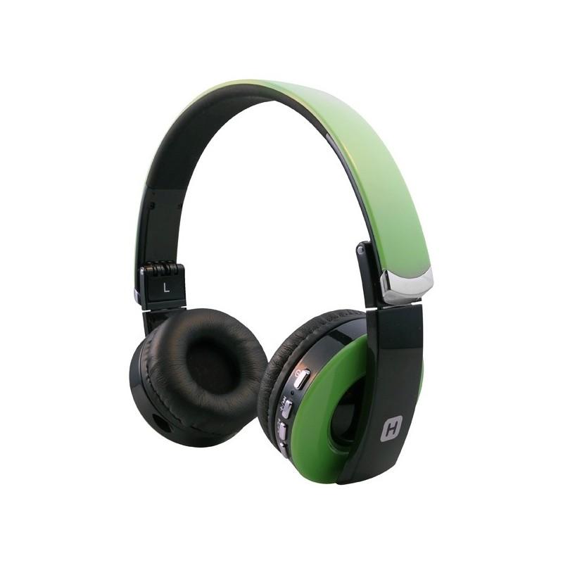 Наушники HARPER НВ-400 Green  (Bluetooth4,0 + кабель, микрофон, регулировка громкости, складная конструкция)