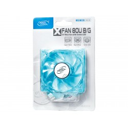 Cooler for PSU/CASE DEEPCOOL XFAN80U GREEN/BLUE LED 80x80x25 mm