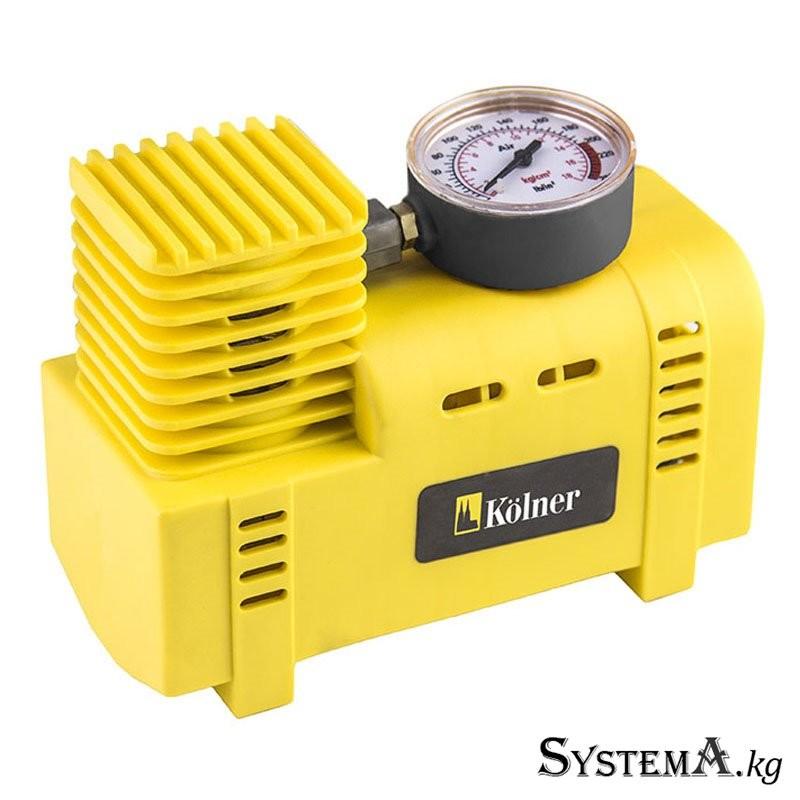 Компрессор автомобильный KOLNER KCO 12/19 (12 Вольт давление 3 бара, диаметр цилиндра 19мм, производительность 15л/мин, кабель 3