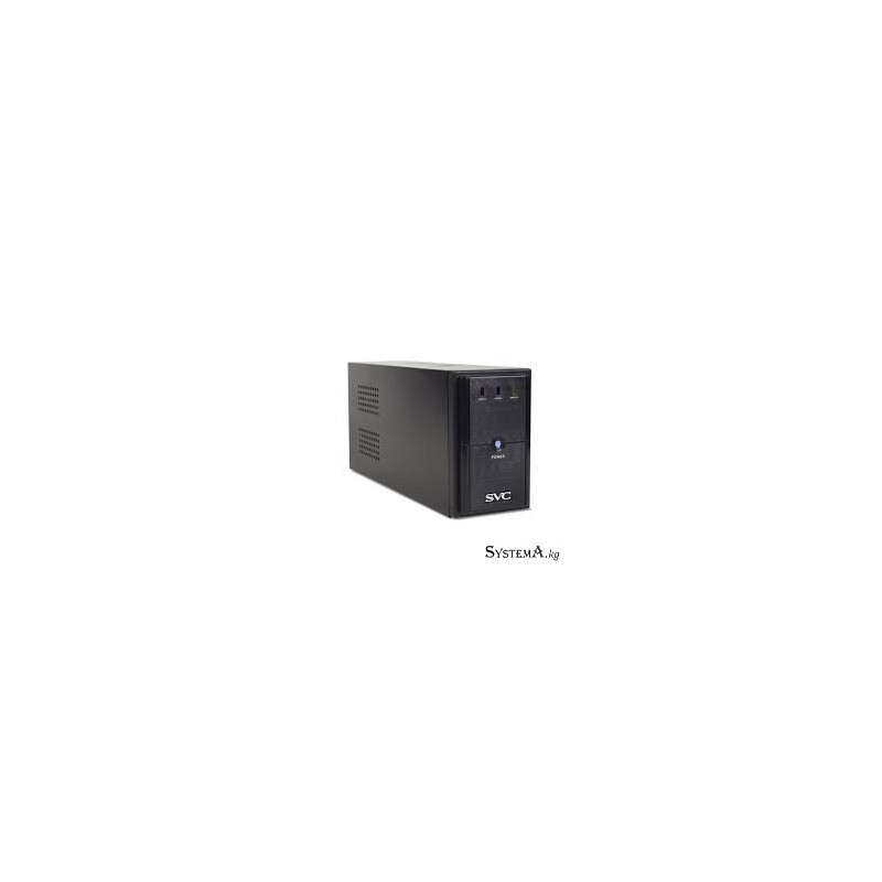 UPS SVC V-650-L, Диапазон работы AVR: 165-275В, AVR в режиме Booster: 138-292В, Бат.: 12В/7.5 Ач*1шт., 3 вых.: 2 Shuko CEE7+1 IE