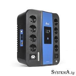 UPS SVC U-1000, Smart, USB, Диапазон работы AVR: 165-275В, Бат.: 12В/9 Ач., 8 вых.: Shuko CEE7(4 с работой от батареи,4 сетевой