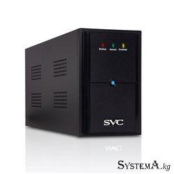 UPS SVC V-2000-L, Диапазон работы AVR: 175-275В, Бат.: 12В/9Ач*2шт., 2 вых.: Shuko CEE7, Чёрный
